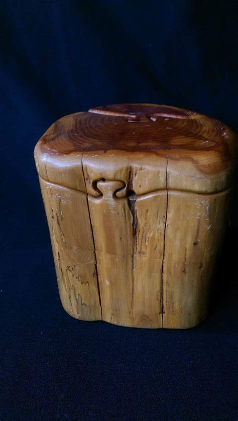 vtg carved cedar wooden puzzle engagement ring jewelry secret trick gift box