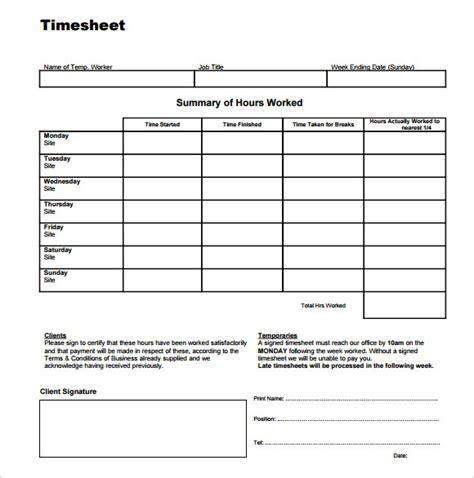 time sheet template   sample examples format
