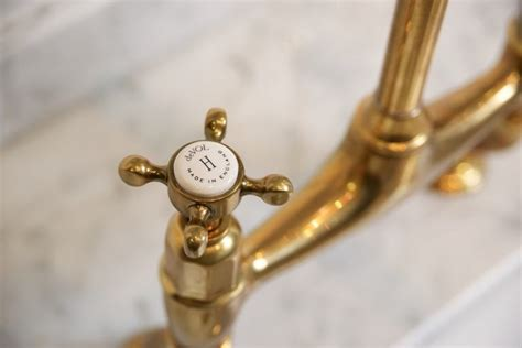 Unlacquered Brass Kitchen Faucet found the perfectly aged brass kitchen faucet remodelista