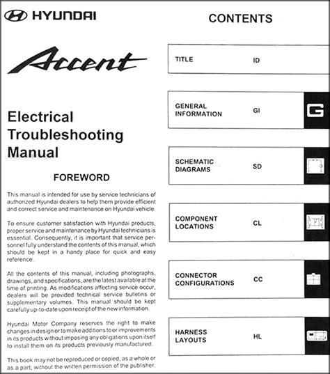 2000 hyundai accent electrical troubleshooting manual original