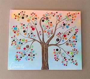Button Tree: a beautiful canvas project full of vibrant colors