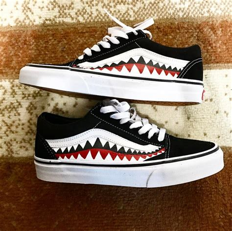 shark by bape by omg sneakers vans x bape shark tooth custom made skating f1 vans of