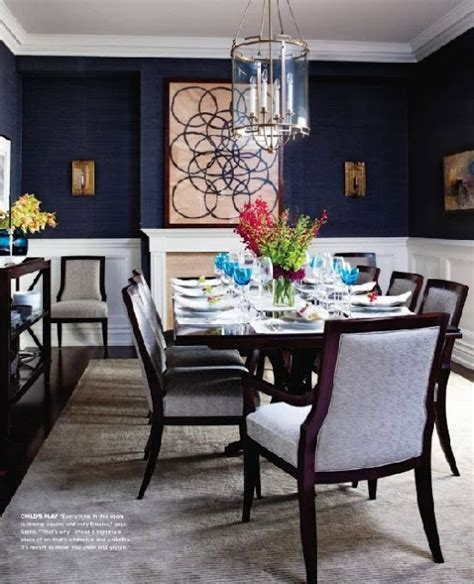 dining room navy paint  white wainscoting eating