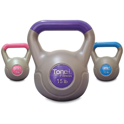 kettlebell fitness tone beginners weight cement filled lbs walmart amazon gym exercise equipment weights kettlebells strength training vinyl workout pound