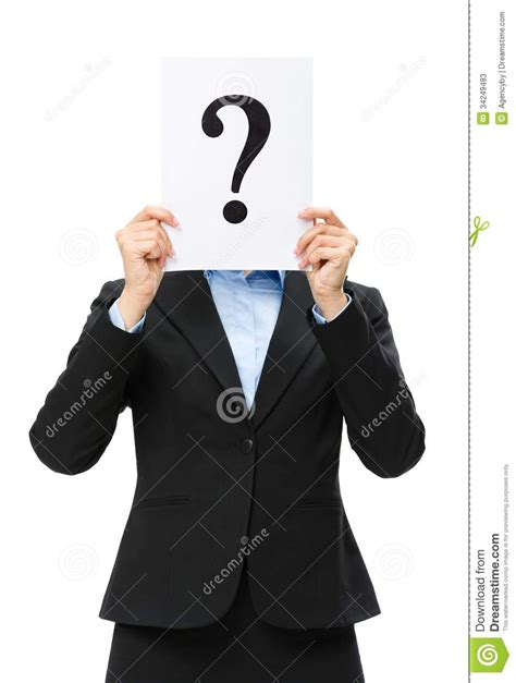 business woman  question mark  front  face stock