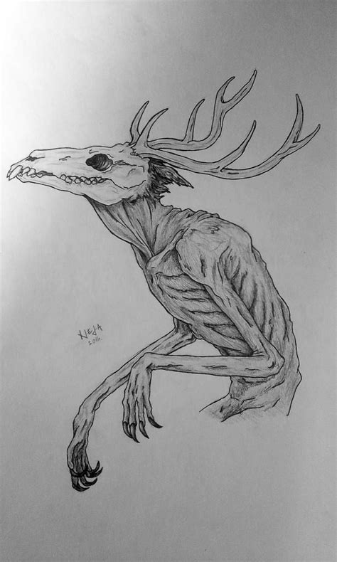 wendigo  rabbithazard  deviantart creepy drawings