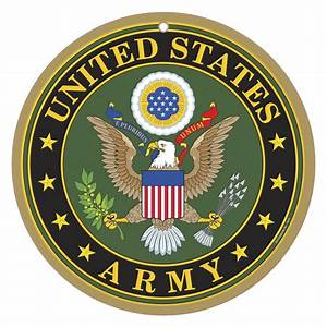 """Military Army Logo on 10"""" round wood plaque, sign"""