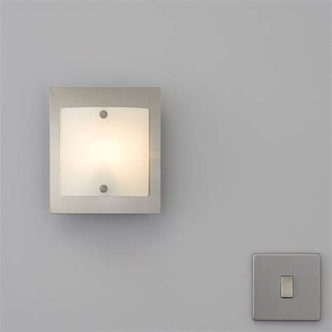 meridian curved glass brushed chrome single wall light departments diy at b q