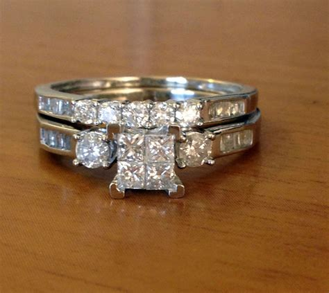 10k white gold princess cut diamonds engagement bridal wedding rings ebay