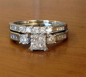 10k white gold princess cut round diamonds engagement With white gold wedding ring with diamonds