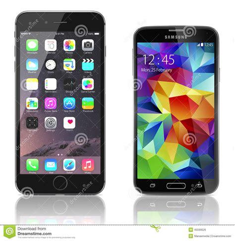 samsung galaxy s5 vs iphone 6 apple iphone 6 plus vs samsung galaxy s5 editorial photo