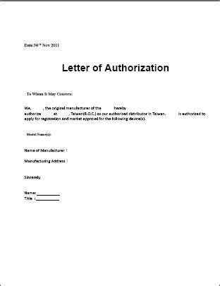 authorization letter sample template  word