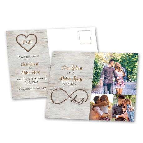 birch beauty save  date postcard anns bridal bargains
