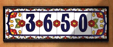 house numbers 3 quot x 6 quot ceramic address tile white talavera