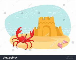 Vector Illustration Crab Sand Castle On Stock Vector ...
