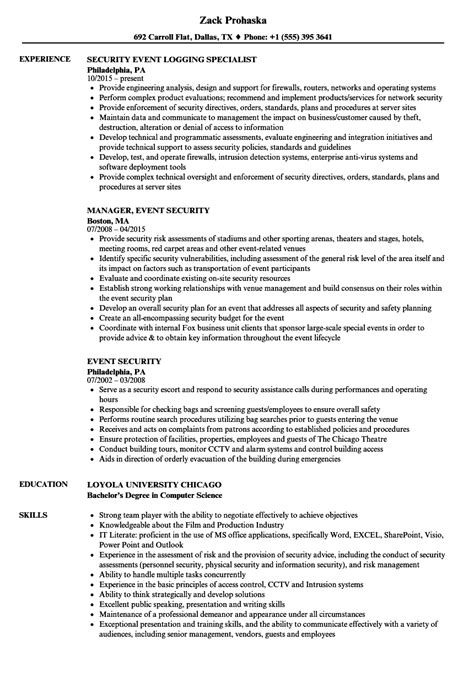 Security Resume by Event Security Resume Sles Velvet