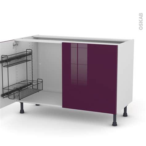 meuble cuisine aubergine meuble de cuisine sous évier keria aubergine 2 portes