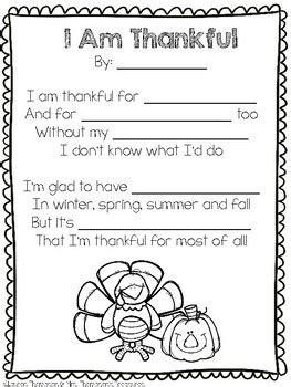 thanksgiving poem template classroom freebies