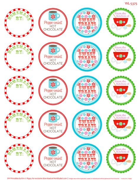 peppermint  christmas printable labels tags
