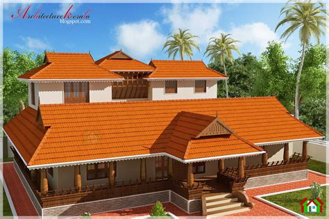Nalukettu Style Kerala House Elevation