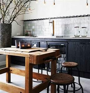 cuisine industrielle l39elegance brute en 82 photos With meuble de cuisine industriel