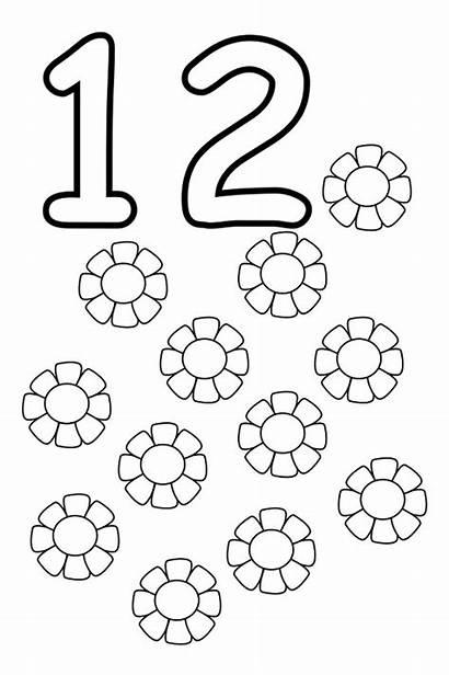 Number Coloring Twelve Worksheets Preschool Numbers Pages
