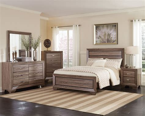 Bedroom Set by Kauffman Washed Taupe Panel Bedroom Set From Coaster