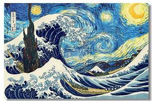 "Van Gogh's ""The Starry Night"" and Hokusai's ""The Great ..."