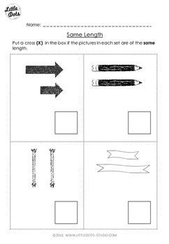 pre  math comparing length worksheet   dots tpt
