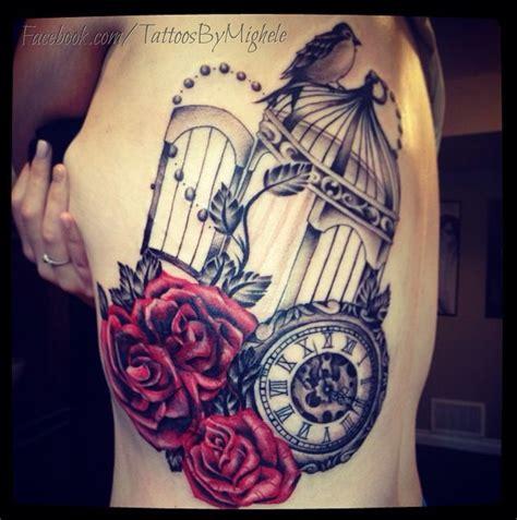 clock roses  birdcage tattoo tattoos  mighele pinterest birdcages clock  roses