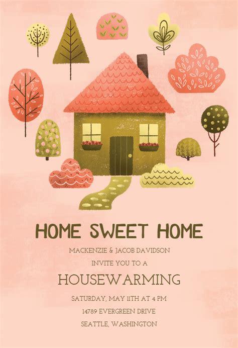 cozy pink housewarming invitation template