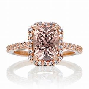 15 carat emerald cut morganite and diamond halo With rose gold morganite wedding rings