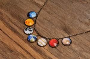 Solar system necklace, planet necklace, universe necklace ...