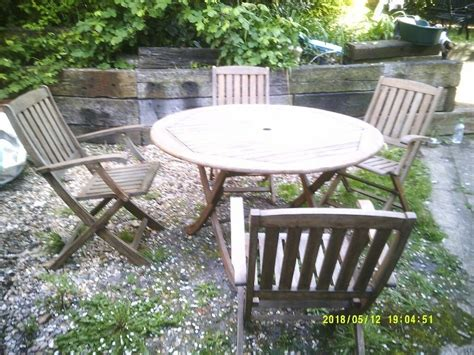 solid teak garden table chairs sale poole