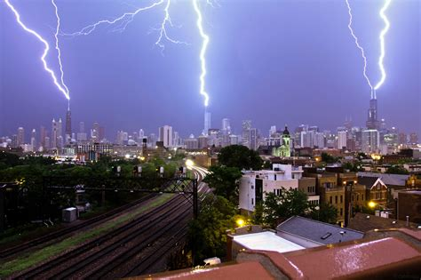 three building a lightning strike on three of chicago s tallest