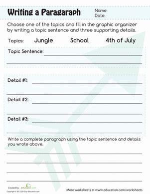 paragraph writing worksheet educationcom