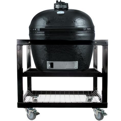 kitchen island with shelves primo ceramic charcoal smoker grill on cart oval xl
