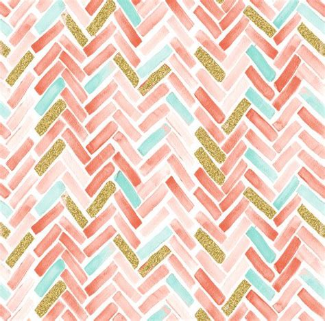 Mint And Coral Chevron Anchor Pattern Wallpaper