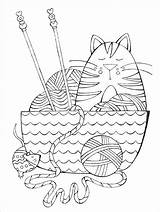 Knitting Coloring Yarn Coloriage Adult Chat Clip Needles Animaux Template sketch template