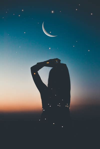 silhouette  person  starry night artwork nohat