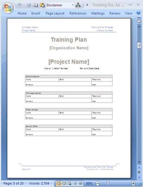 training plan templates ms word   excel spreadsheets