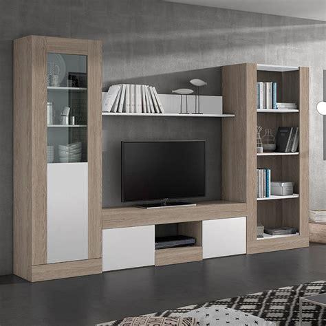libreria de salon en color sable  blanco de  centimetros