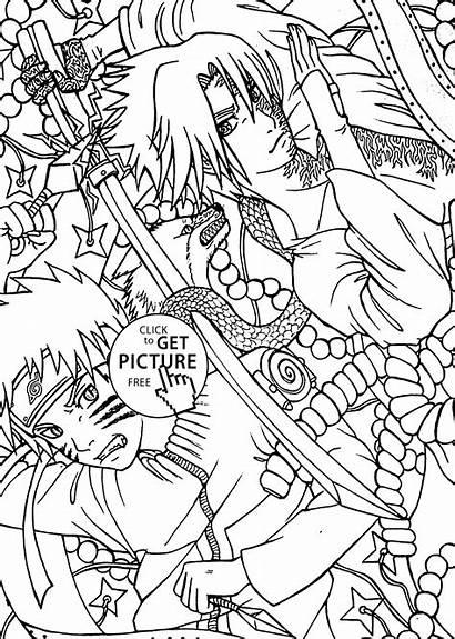 Naruto Coloring Sasuke Anime Pages Printable Manga