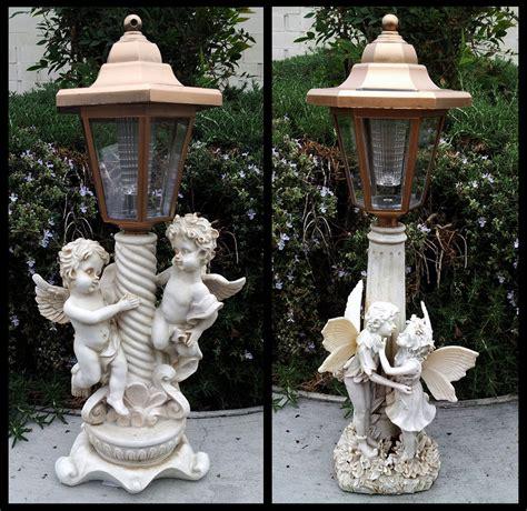 2 outdoor garden decor solar cherub statue