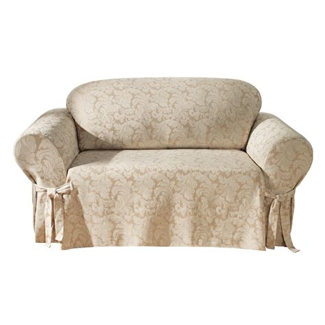 Loveseat Sofa Covers by Sure Fit Scroll Loveseat Slipcover Chagne