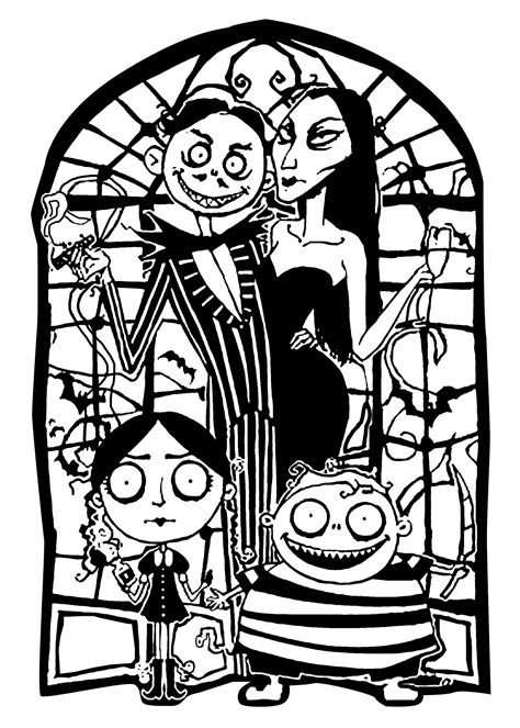 adams family halloween adult coloring pages