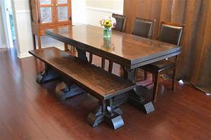 Triple, Foot, Farmhouse, Table, With, Runner, Triple, Pedestal, Bench
