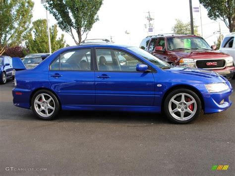 mitsubishi evolution 2005 2005 electric blue metallic mitsubishi lancer evolution
