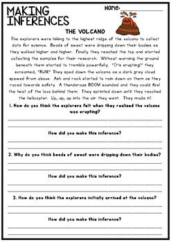 inferences and drawing conclusions reading worksheet tpt