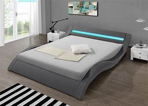 Lit Design LED Gris Kalitea Lit Leds Avec Tlcommande